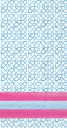 GUEST TOWELS - RAB - IKAT LT. BLUE PATTERN WITH PINK STRIPE