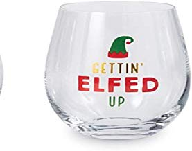 CHRISTMAS DRINKWARE   -MP- GETTIN' ELFED UP WINE GLASS