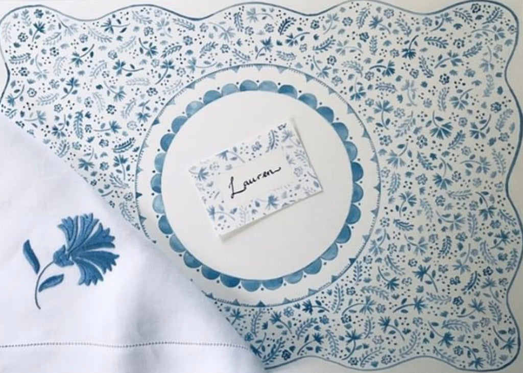 PAPER PLACEMATS & PLACE CARDS - CMY - BLUE FLOWERS & FERNS SET OF 10 AND SET OF 10 PLACECARDS
