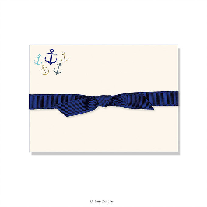 BOXED NOTE CARDS - FXD - WHIMSICAL ANCHORS  WITH FOIL SET OF 10