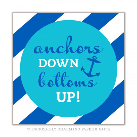 BEVERAGE NAPKINS - ICPG - ANCHORS DOWN BOTTOMS UP!