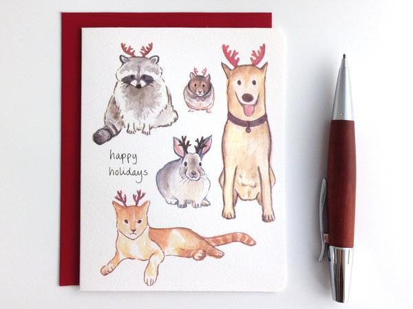 CHRISTMAS CARD - GOT- ANIMALS WITH ANTLERS