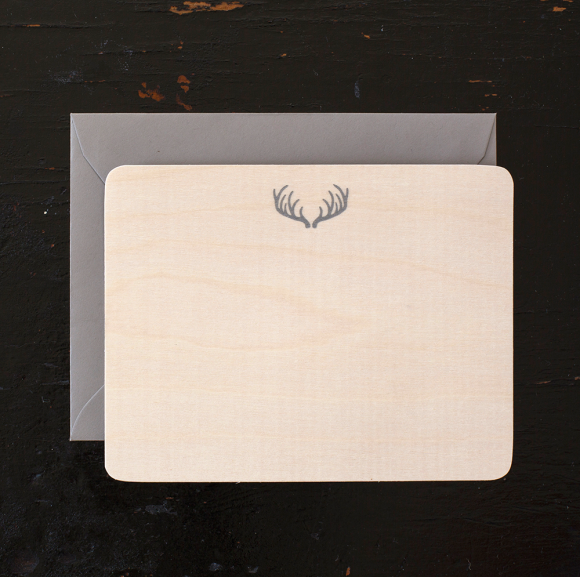 BOXED NOTE CARDS - A - BIRCH WOOD VENEER ANTLER - LETTER PRESSED