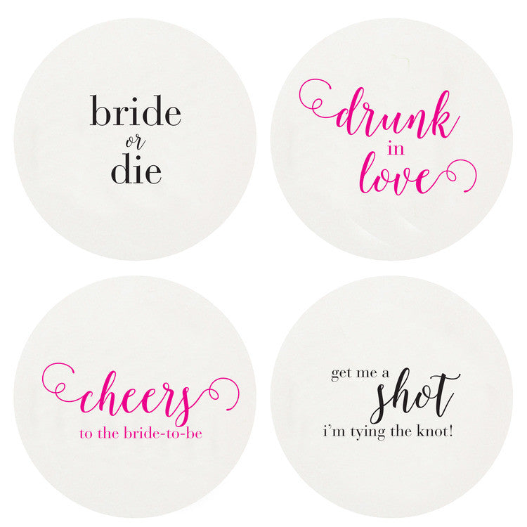 COASTERS - HP - BACHELORETTE LARGE BOX OF 100 LETTERPRESSED