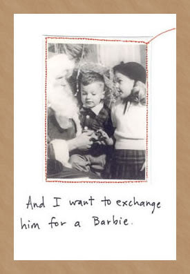 CHRISTMAS CARD - VT - EXCHANGE FOR A BARBIE