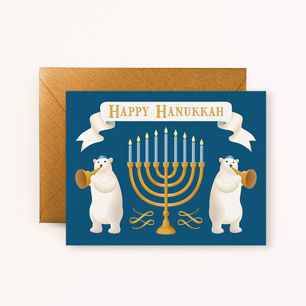 POLAR BEARS HAPPY HANUKKAH - GREETING CARD