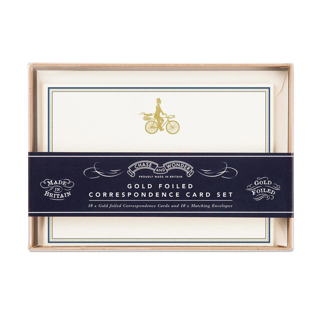 BOXED NOTE CARDS - CAW - GOLD FOIL BIKER