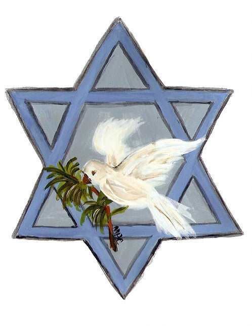 HANUKKAH CARD - PCD - BIRD AND STAR OF DAVID