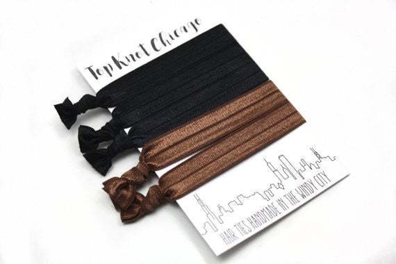 BLACK AND BROWN HAIR TIES