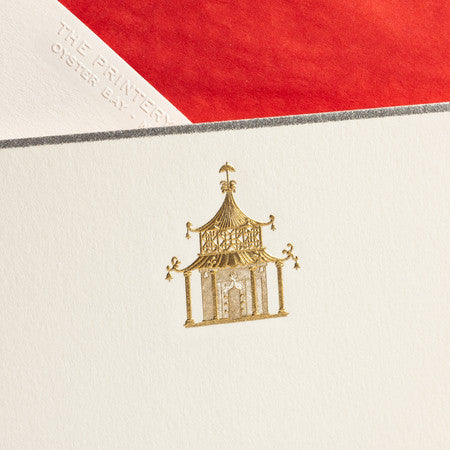 BOXED NOTE CARDS - TP - GOLD PAGODA - ENGRAVED