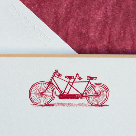 BOXED NOTE CARDS - TP - TANDEM BIKE - ENGRAVED