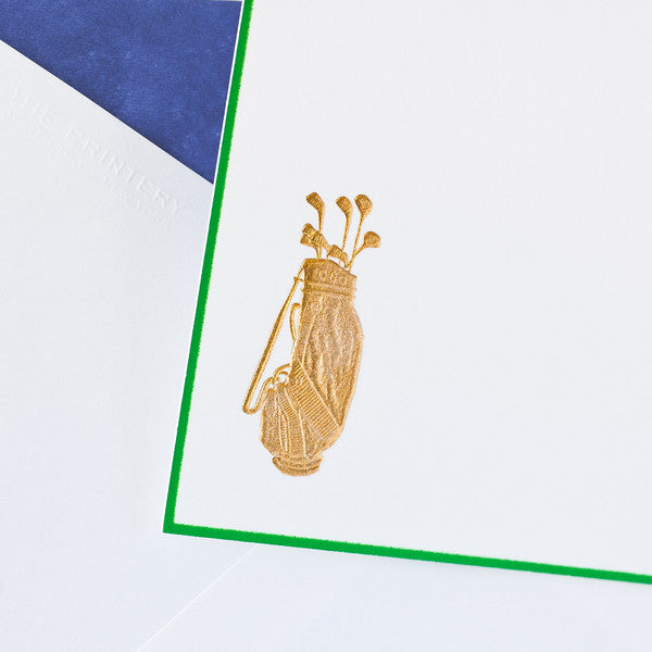 GOLD GOLF BAG NOTE CARDS