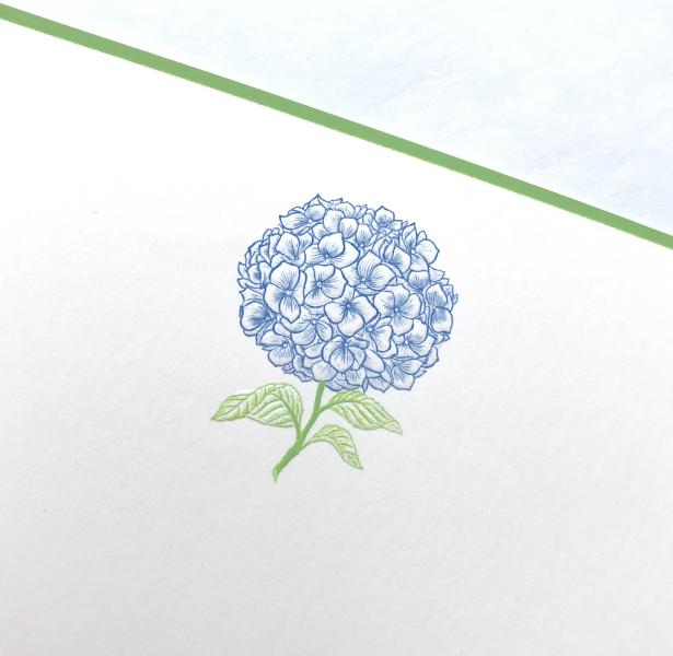 BOXED NOTE CARDS - TP - HYDRANGEA ENGRAVED