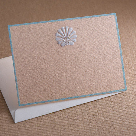 ENCLOSURE CARDS - TP - WHITE SHELL ON PEACH ENGRAVED
