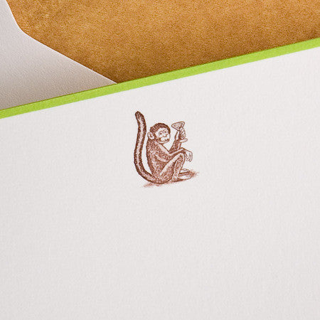 BOXED NOTE CARDS - TP - GIN MONKEY - ENGRAVED