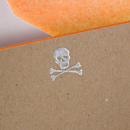 BOXED NOTE CARDS - TP - SKULL & BONES WITH ORANGE - ENGRAVED