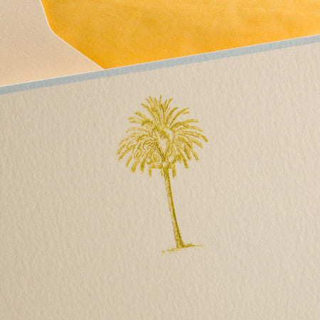 BOXED NOTE CARDS- TP- PALM TREE ENGRAVED