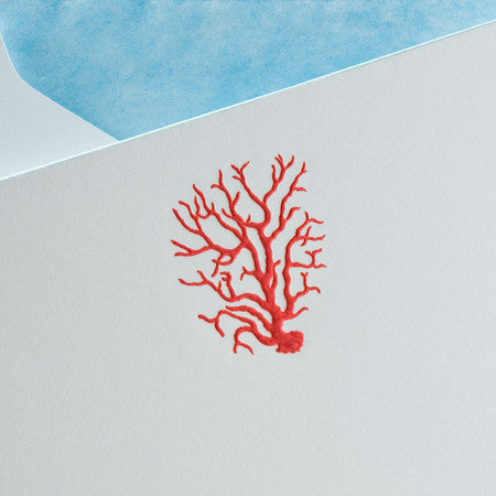 NOTE CARDS - TP - RED CORAL - ENGRAVED