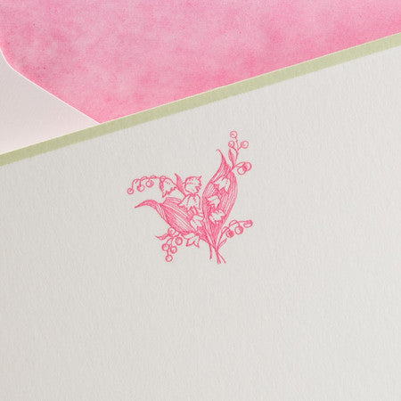 BOXED NOTE CARDS - TP - PINK LILY - ENGRAVED