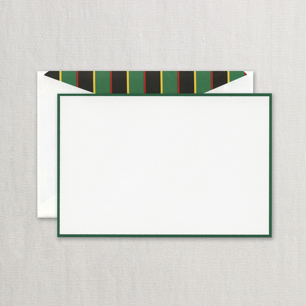 BOXED NOTE CARDS - CCO - HUNTER GREEN BORDERED CARD WITH CABANA LINING