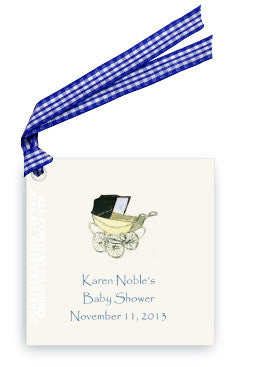 GIFT TAG -LB-BABY BOY CARRIAGE