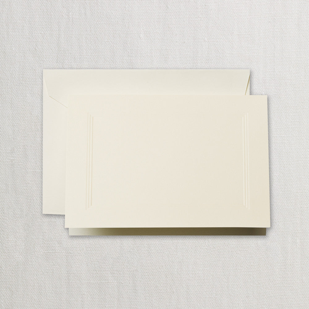 BOXED NOTE CARDS - CCO - ECRU-WHITE TRIPLE PANEL FRAME
