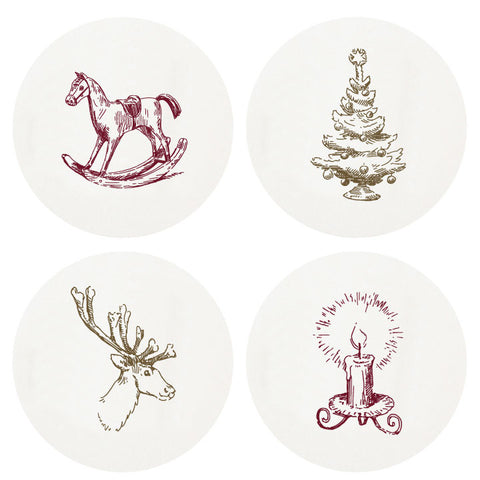 CHRISTMAS COASTERS - HP - LETTERPRESS LARGE BOX 0F 100