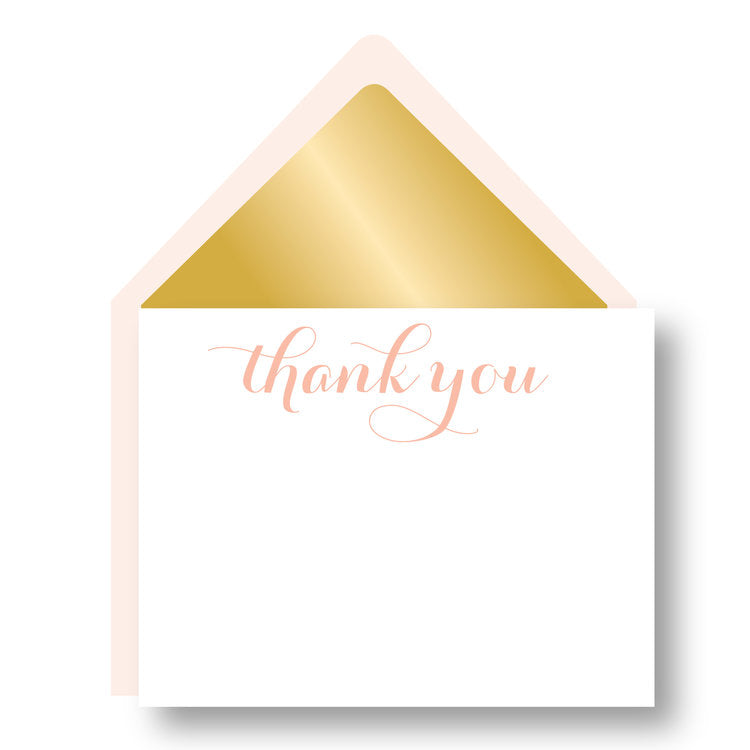 BOXED NOTECARDS - HP - GOLD LINED BLUSH THANK YOU CARDS