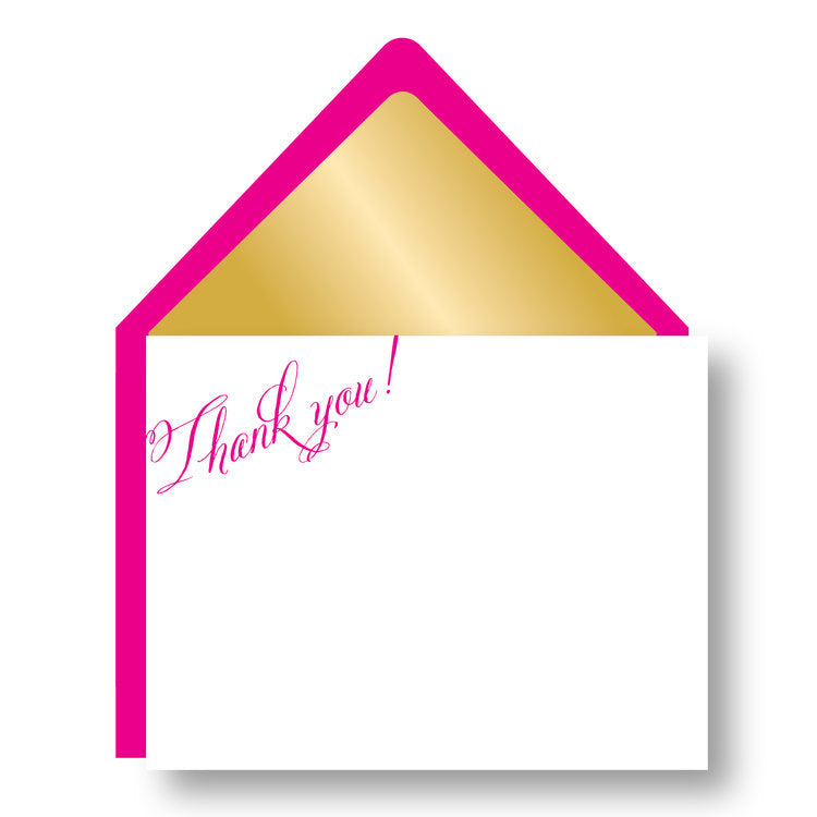 THANK YOU BOXED NOTECARDS- HP - GOLD LINED FUSCHIA
