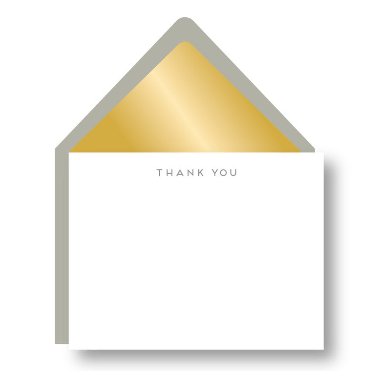 BOXED NOTE CARDS - HP - GOLD LINED TAUPE THANK YOU