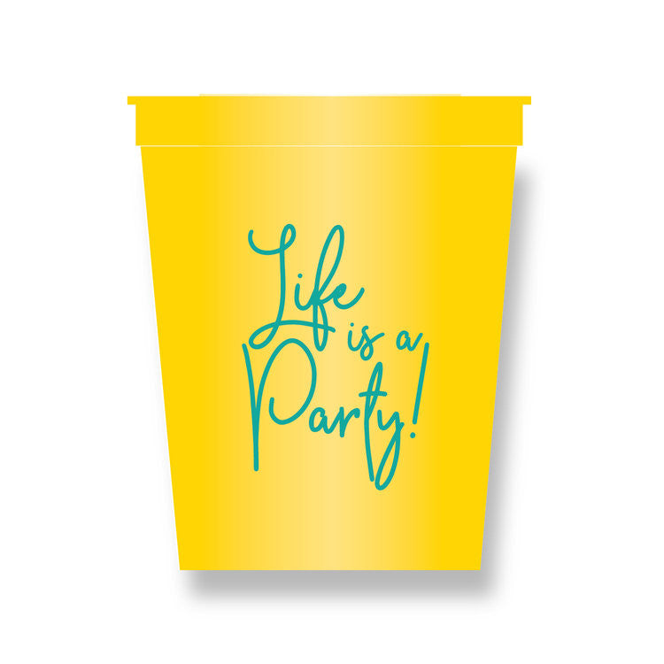STADIUM CUPS - HP - LIFE IS A PARTY PLASTIC CUPS SET OF 8