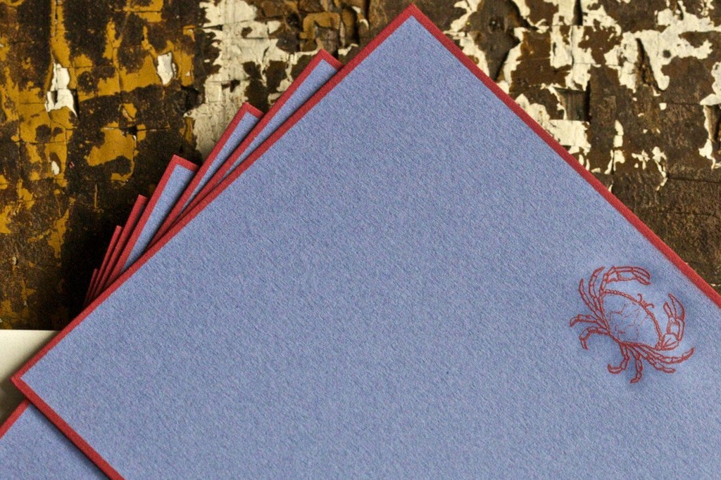 RED CRAB BLANK CARD - PP - ENGRAVED RED CRAB ON SEA BLUE CARD WITH RED BORDER