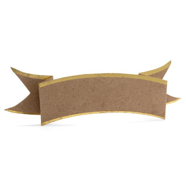 PLACE CARDS - KA - KRAFT BANNER WITH GOLD EDGE SET OF 6