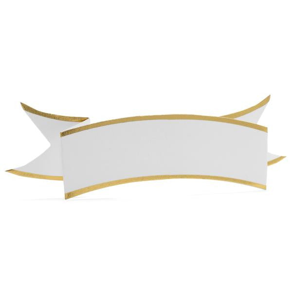 PLACE CARDS - KA - CREAM BANNER WITH GOLD SET OF 6