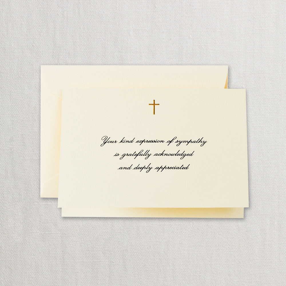 BOXED NOTE CARDS - CCO - ECRU WITH GOLD CROSS FOLDED NOTES WITH ENGRAVED MESSAGE