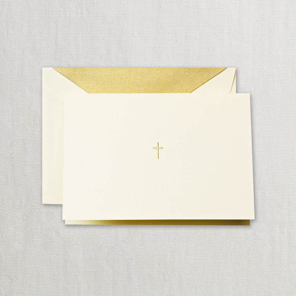 BOXED NOTE CARDS - CCO - ENGRAVED GOLD CROSS FOLD OVERS