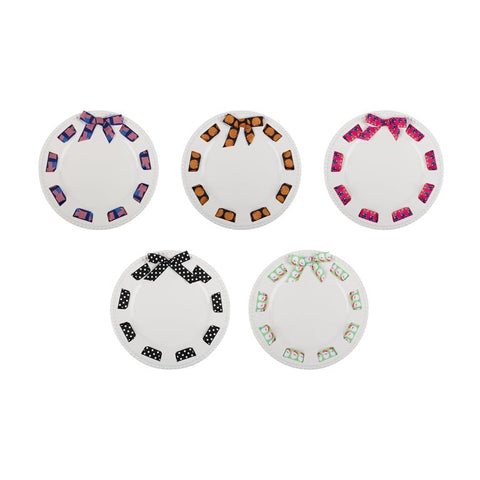 CAKE PLATTER -MSC- ROUND- MULTI HOLIDAY RIBBONS