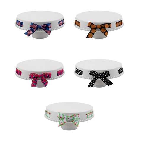 CAKE STAND -MSC- MULTI HOLIDAY RIBBONS