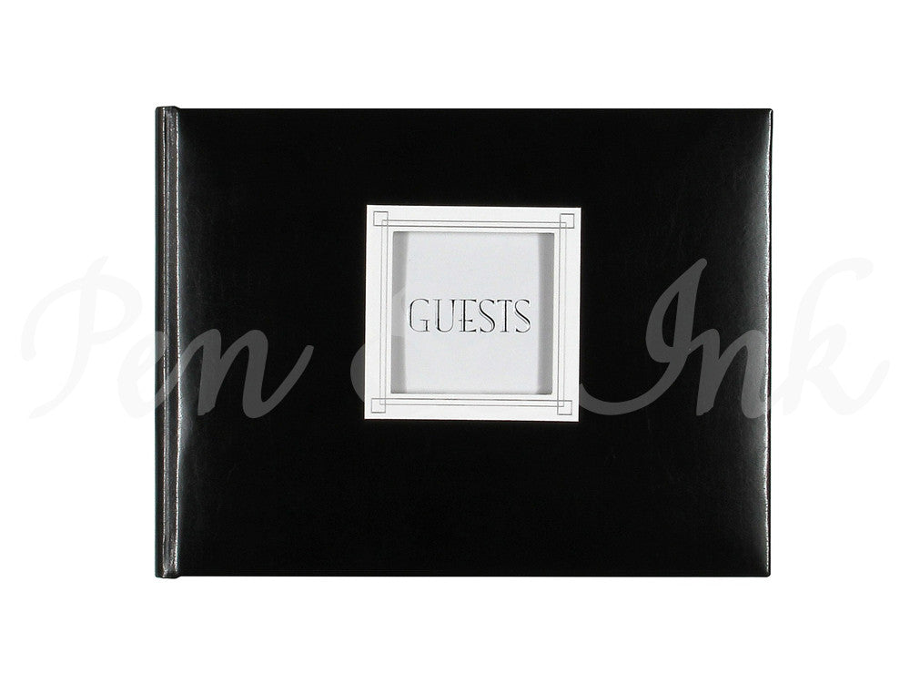 GUEST BOOK - CRG -  BLACK LEATHER WITH PICTURE INSERT