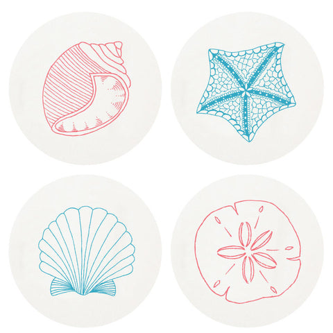 COASTERS - HP - BEACH SHELLS LARGE BOX SET OF 100  LETTERPRESSED