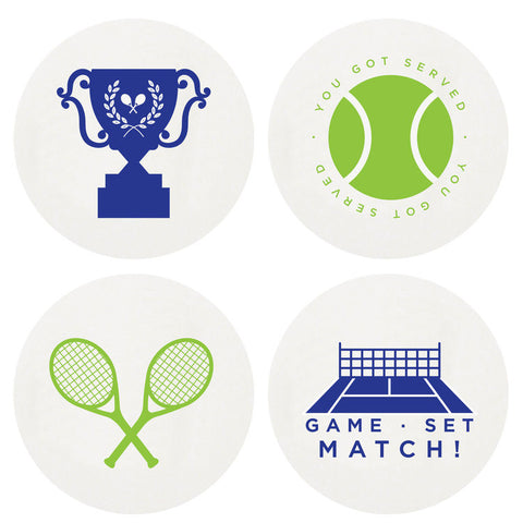 COASTERS - HP - LETTERPRESSED TENNIS  LARGE BOX OF 100