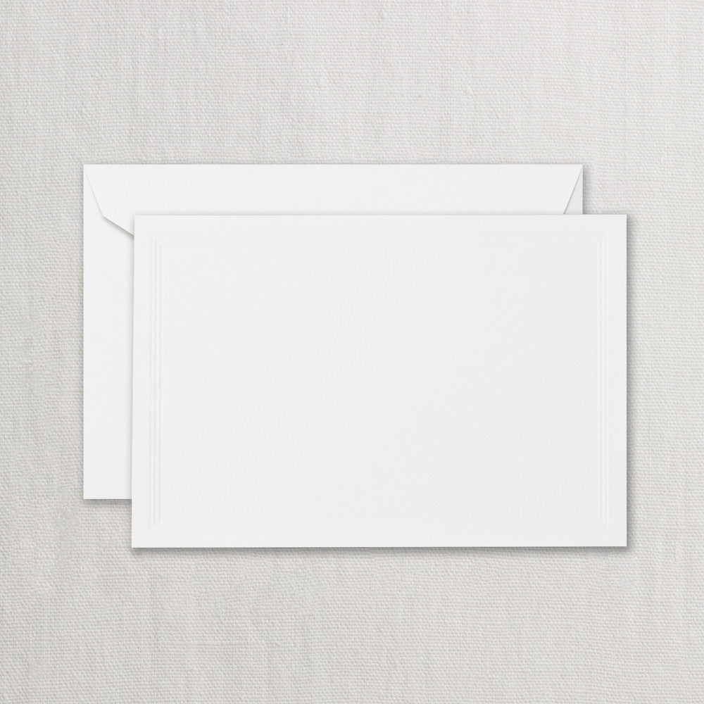 BOXED NOTE CARDS - CCO - PEARL WHITE TRIPLE DEBOSSED FRAME