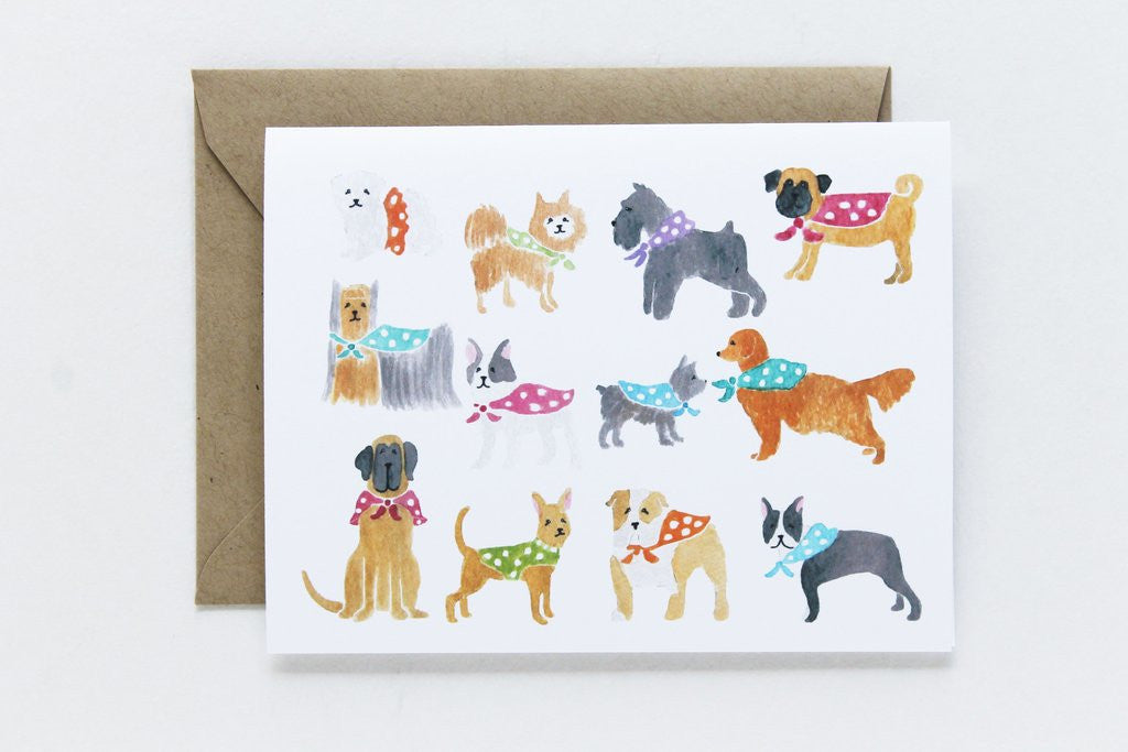 GENERAL DOG - LAP - WATERCOLOR DOGS WITH KRAFT ENVELOPE