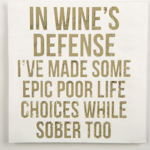 BEVERAGE NAPKINS - DTHY - IN WINE'S DEFENSE