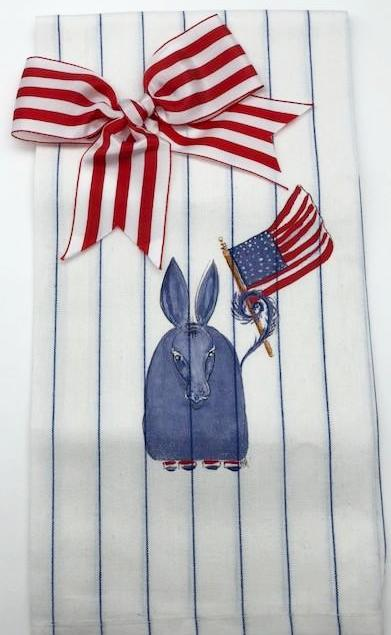 KITCHEN TOWEL - DBB - DONKEY WITH FLAG AND BOW