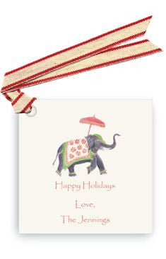GIFT TAGS  - LB -  ELEPHANT W/RIBBON SET Of 6