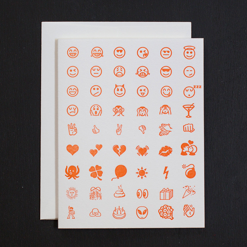 NOTE CARD - ANC - ORANGE LETTERPRESSED EMOJIS