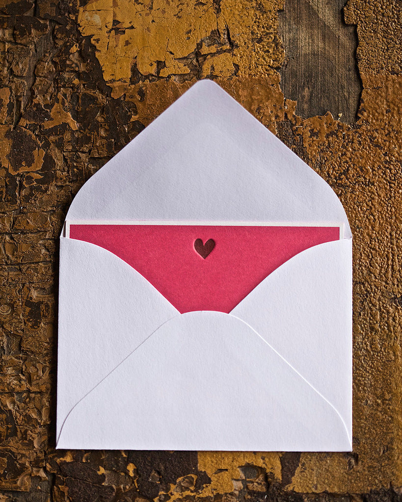 HEART ENCLOSURE CARD - PP - PINK WITH GOLD HEART