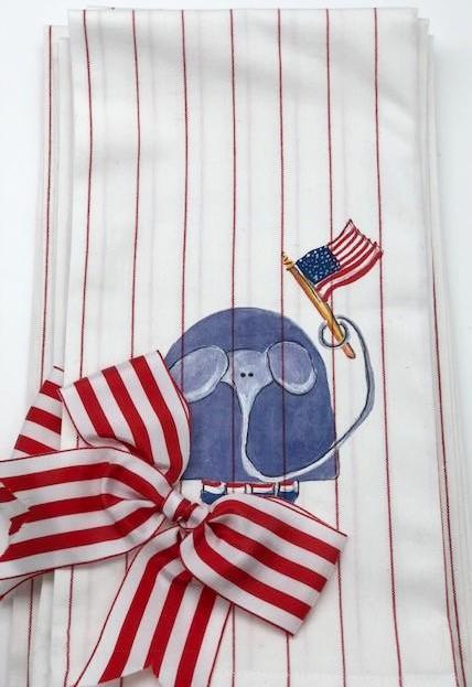 KITCHEN TOWEL - DBB - ELEPHANT WITH FLAG AND BOW