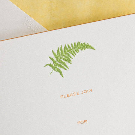 BOXED FILL-IN INVITATIONS - TP - FERN - ENGRAVED